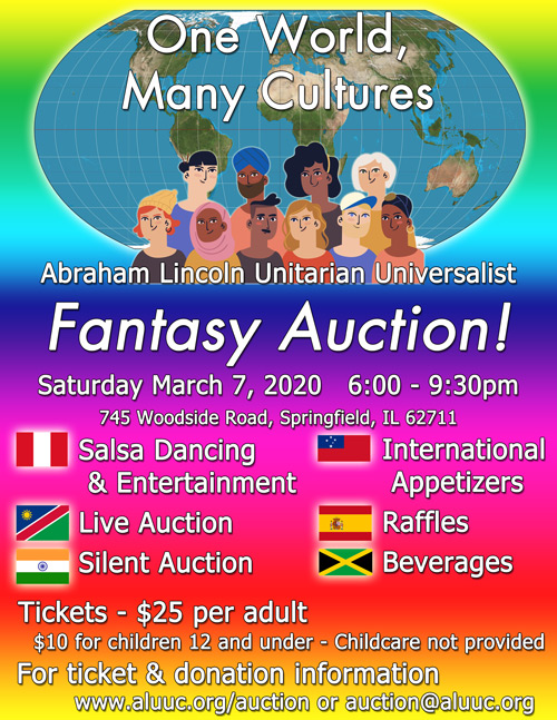 Flyer for the ALUUC 2020 Fantasy Auction on Saturday, March 7th from 6:00-9:30pm