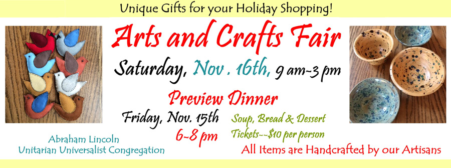 November 15-16, 2019 ~ Arts and Crafts Fair: Local Artists and Crafters
