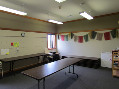 Our Barton Room is one of our 6 classrooms, and has tables and chairs.