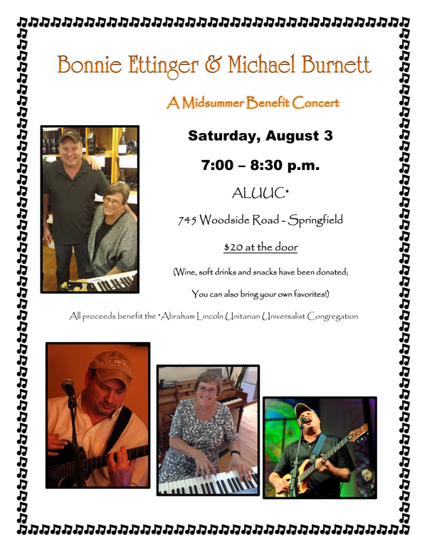 August 3 ~ Bonnie Ettinger & Michael Burnett - A Midsummer Benefit Concert ~ ALUUC