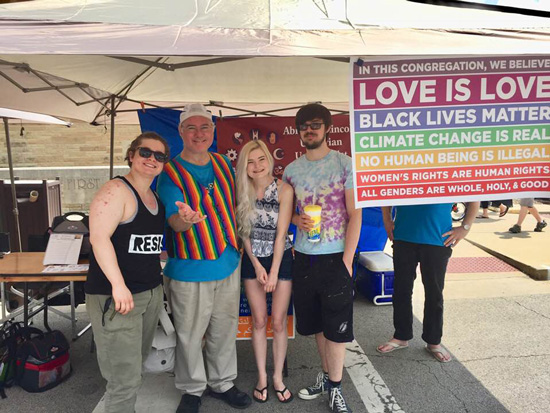 As our banner at PrideFest proclaimed:  We believe that Love is Love / Black Lives Matter / Climate Change is Real / No Human Being is Illegal / All Genders are Whole, Holy and Good / Women have Agency over their Bodies.