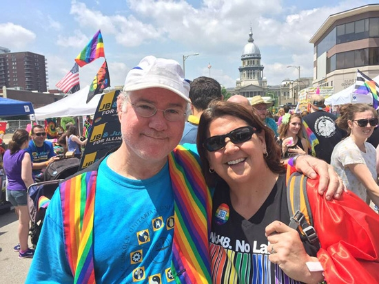Rev. Martin Woulfe and Phoenix Center Director Jonna Cooley at 2018 Springfield Pridefest.