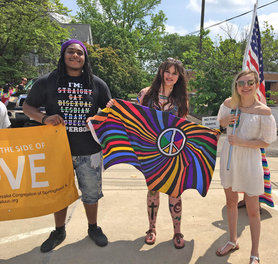 Three ALUUC friends ready to march in the Pridefest parade.