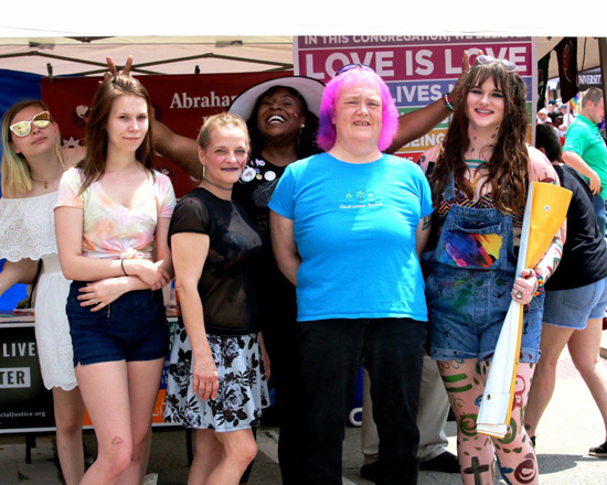 Proud and happy ALUUC members and friends at the Springfield 2018 Pridefest.