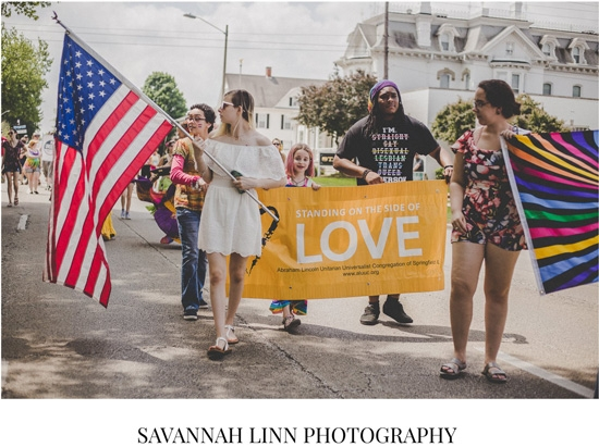 Courtesy of Savannah Linn Photography, young ALUUC members and friends march in the 2018 Springfield Pridefest parade.