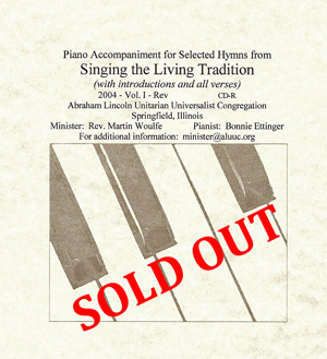 Hymns of the Living Tradition - Piano Accompaniment for 30 Selected Hymns by Bonnie Ettinger - currently sold out