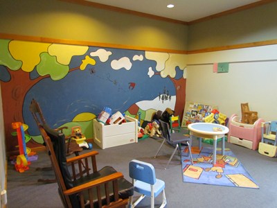 The Nursery has several toys and books for young ones.