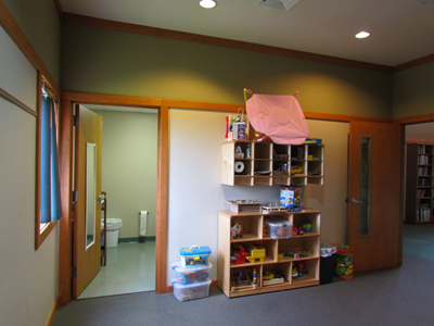 Our Nursery has a separate bathroom with a full changing table and training seat.